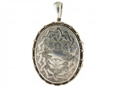 Engraved Victorian Silver Locket Pendant