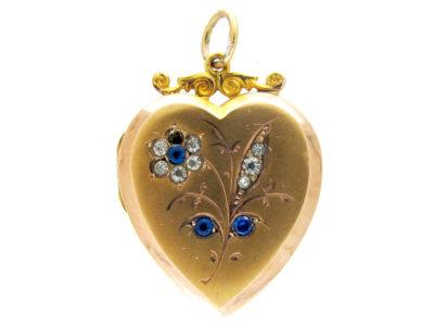 Gold & Paste Heart-Shaped Locket