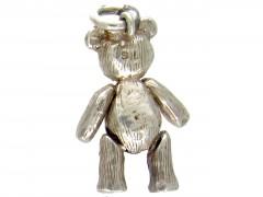 Silver Articulated Teddy Bear Charm
