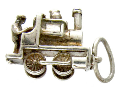 Silver Railway Steam Engine Charm