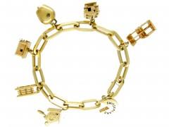 Swiss Charms Silver Gilt Bracelet