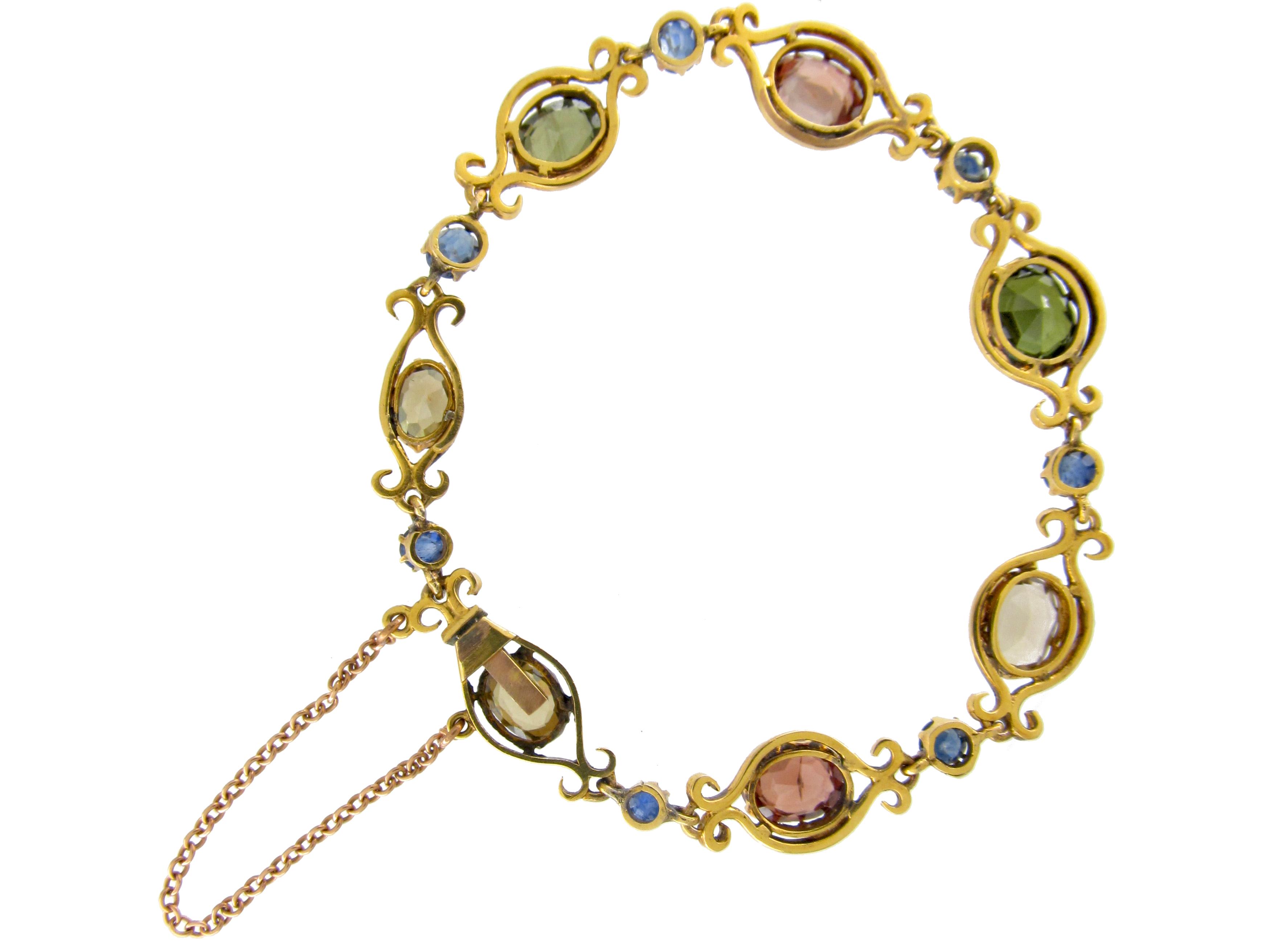 Sapphire & Zircon 18ct Gold Bracelet