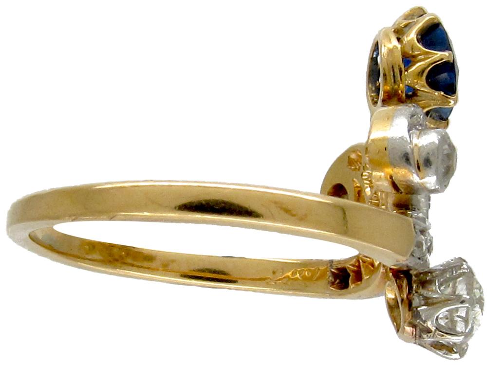 Art Nouveau Sapphire & Diamond Ring