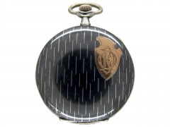 Swiss Silver Niello Pocket Watch Made by Huguenin Freres