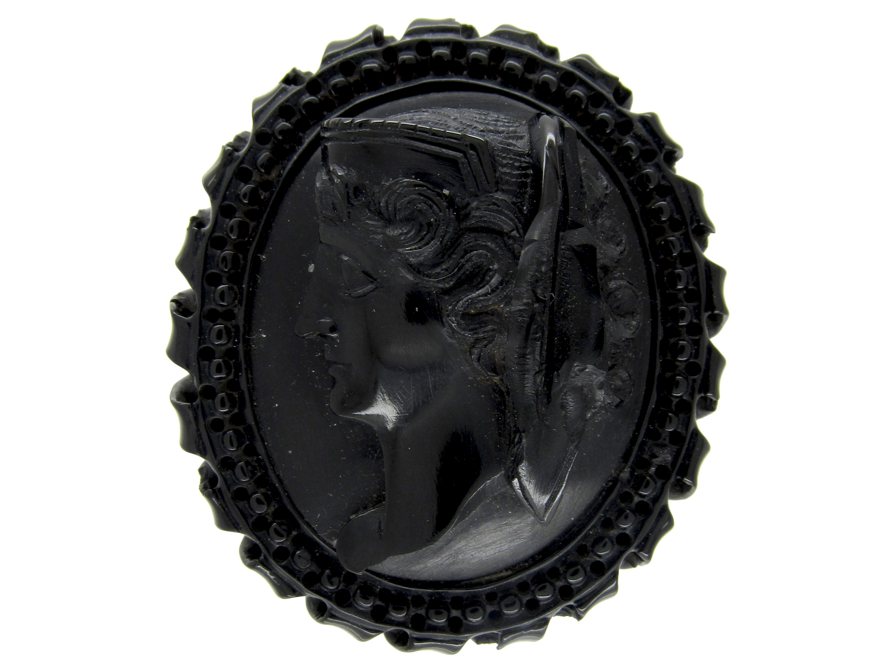 Carved Whitby Jet Brooch