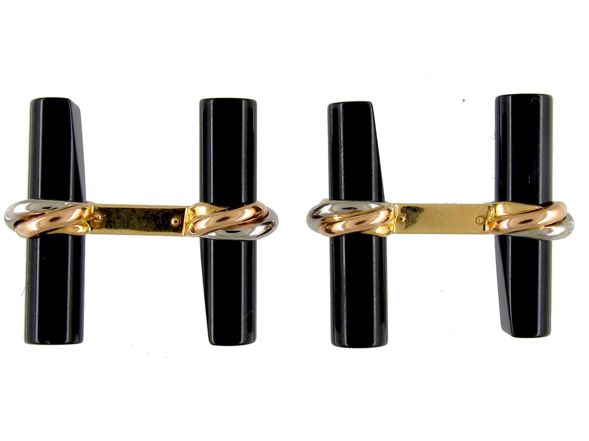 Gold & Onyx Baton Bar Cufflinks by Cartier