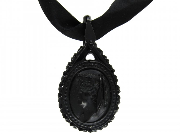 Carved Whitby Jet Pendant