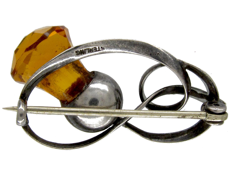 Silver Art Nouveau Thistle Brooch