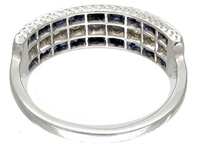 Sapphire & Diamond Art Deco Half Hoop Ring
