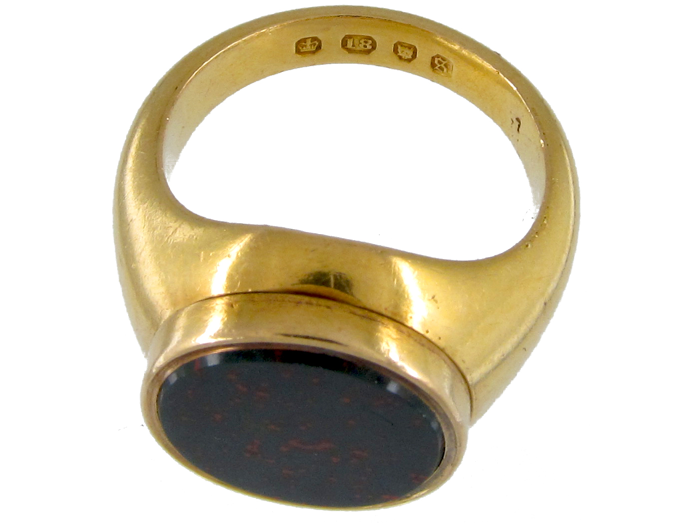 Opening 18ct Gold & Bloodstone Signet Ring
