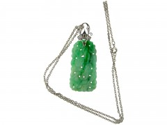 Art Deco 18ct White Gold & Carved Jade Pendant on a White Gold Chain