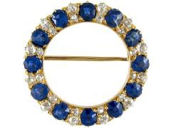 Sapphire & Diamond Circle Brooch