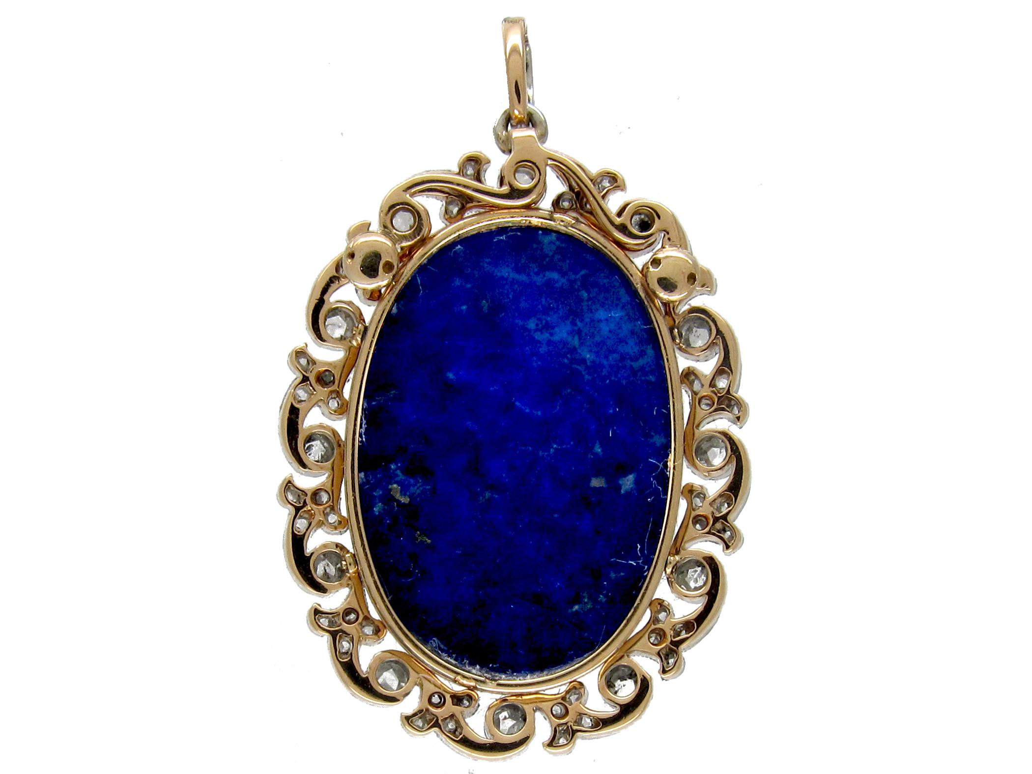 Lapis Lazuli & Diamond Art Nouveau Pendant on Chain