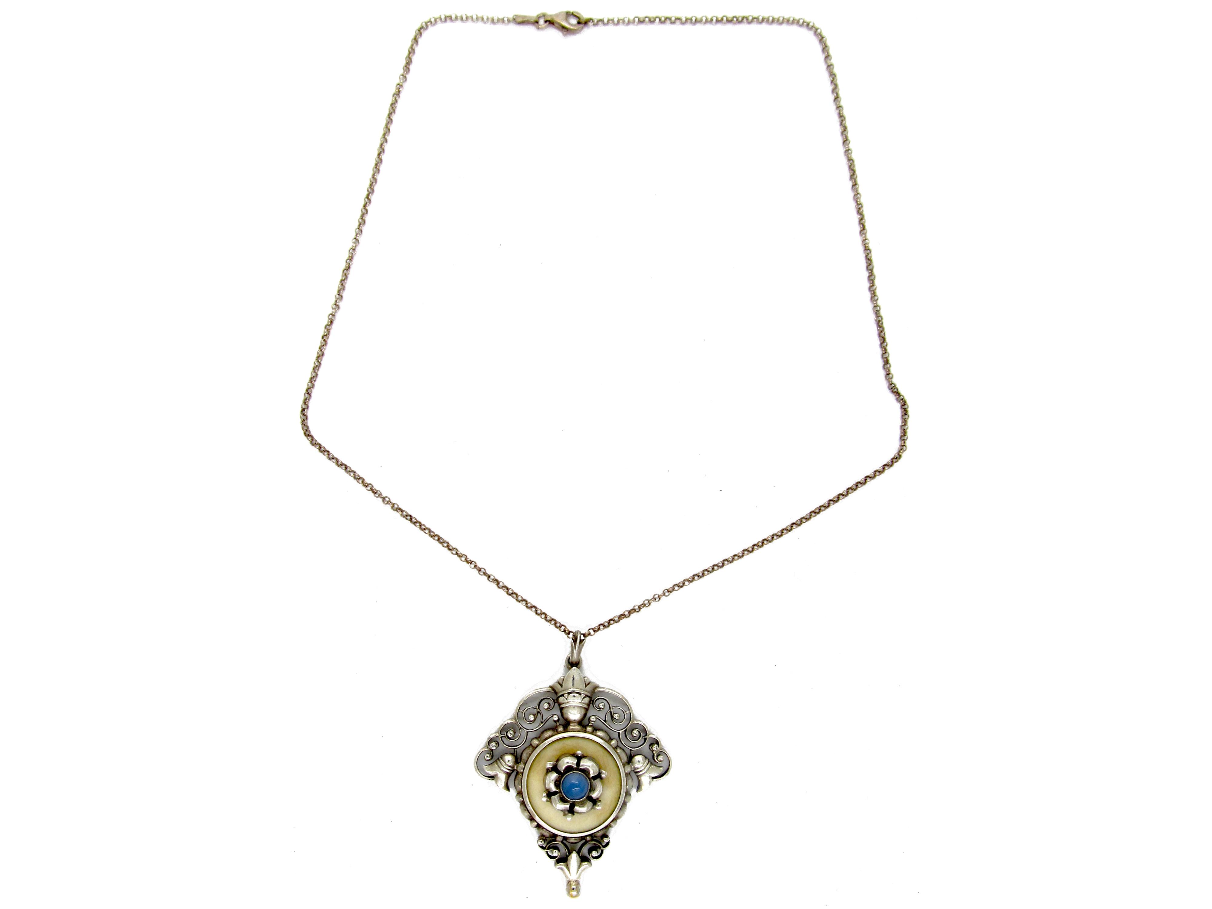 Art Nouveau Silver Pendant on Chain by Meyer
