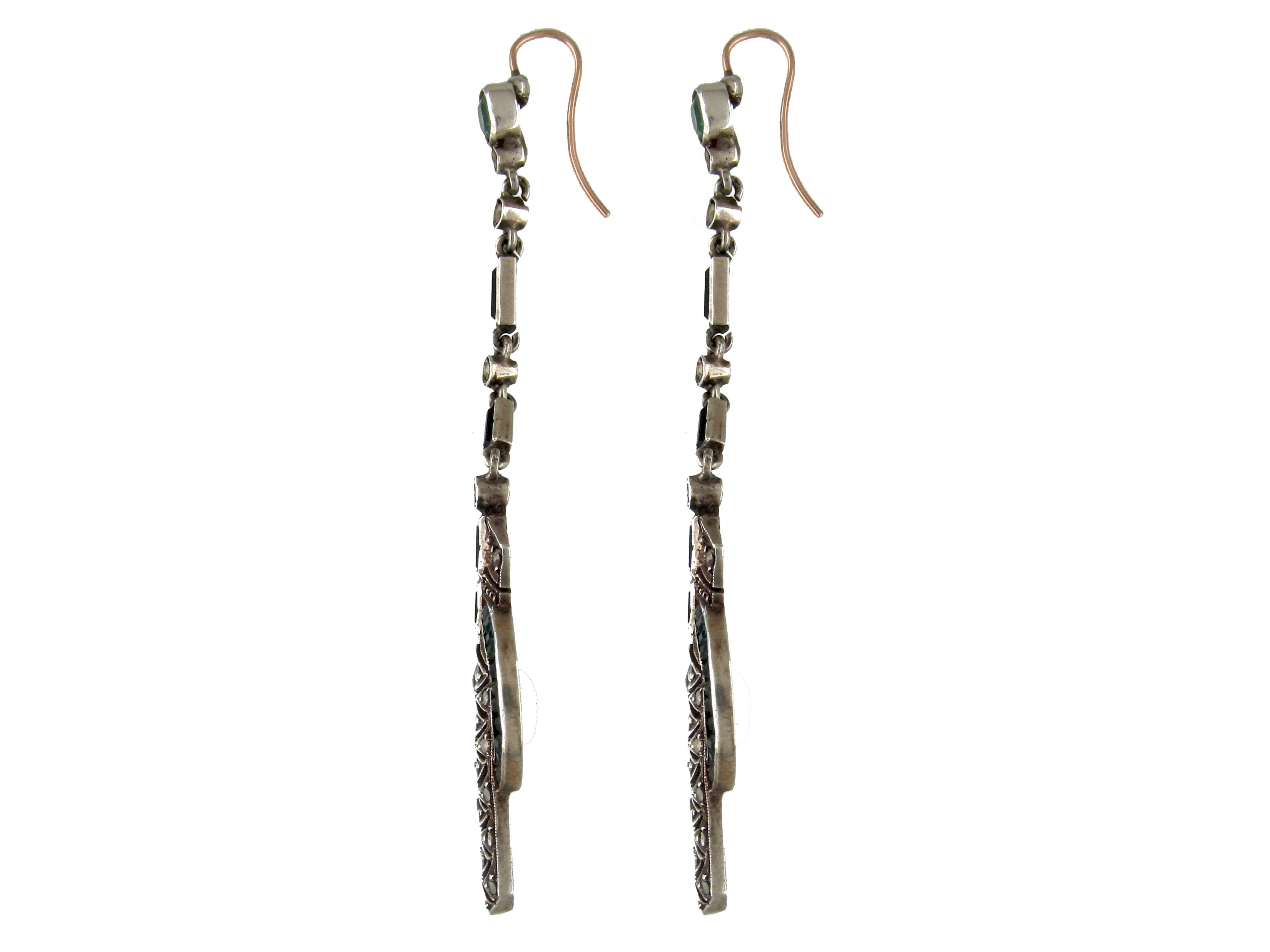 Silver & Paste Art Deco Long Drop Earrings