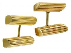 Gold Ribbed Baton Cufflinks