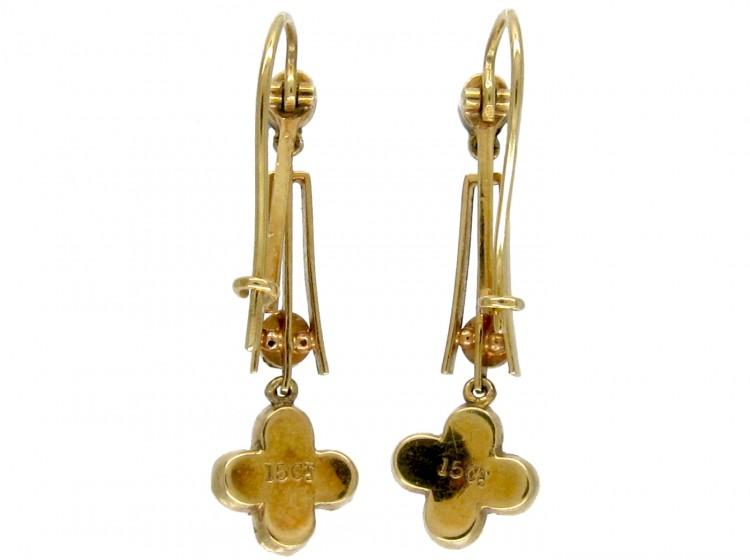15ct Gold & Natural Pearl Drop Earrings