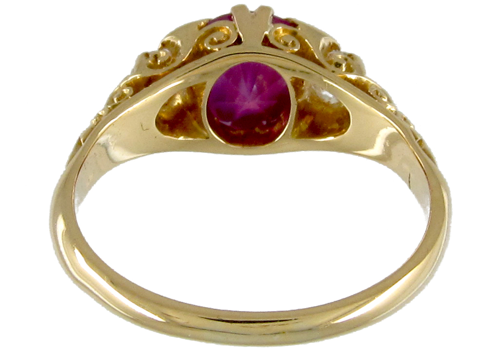 Victorian Pink Sapphire & Diamond Three Stone Ring