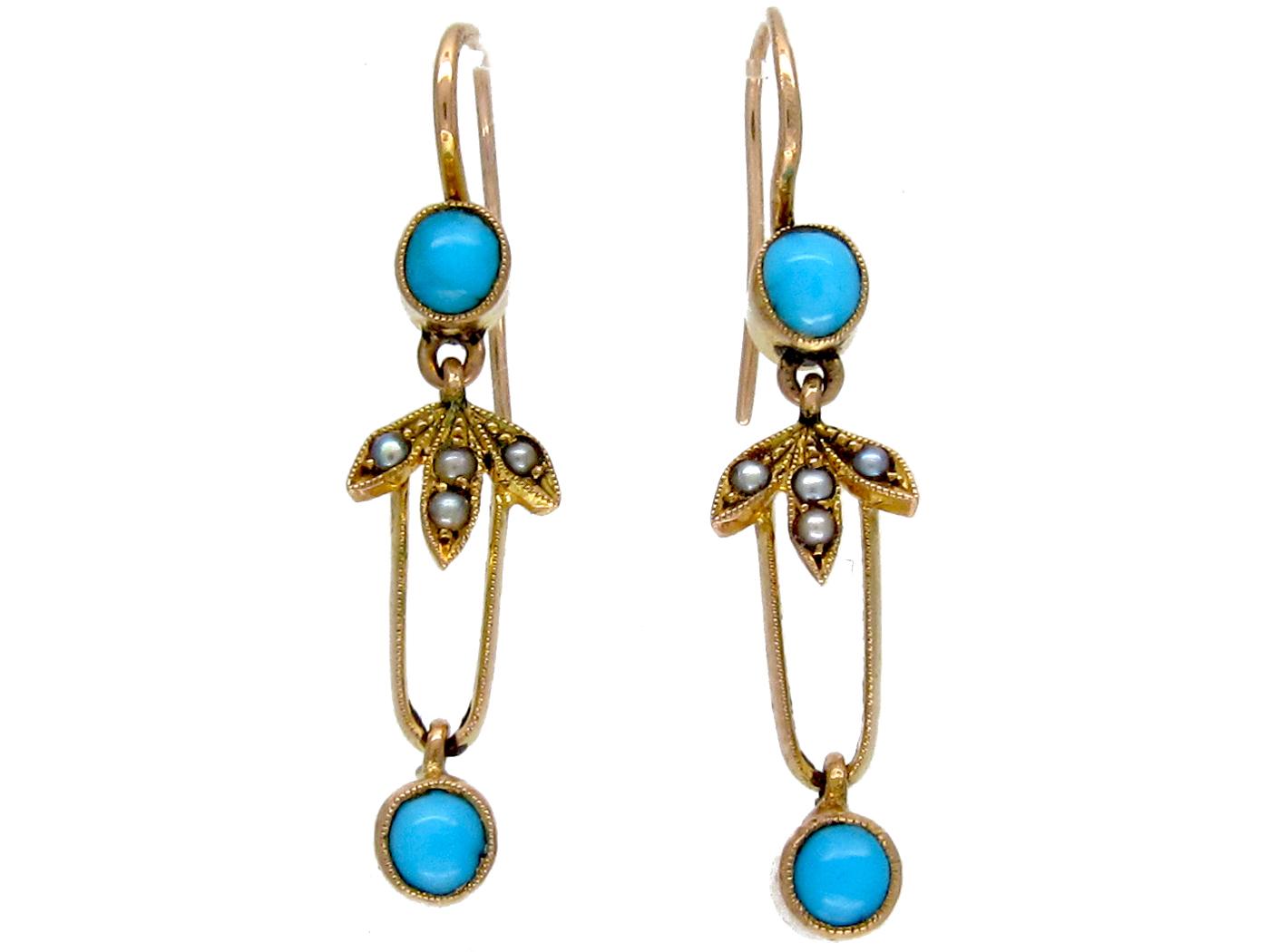 Edwardian Turquoise & Seed Pearl Drop Earrings