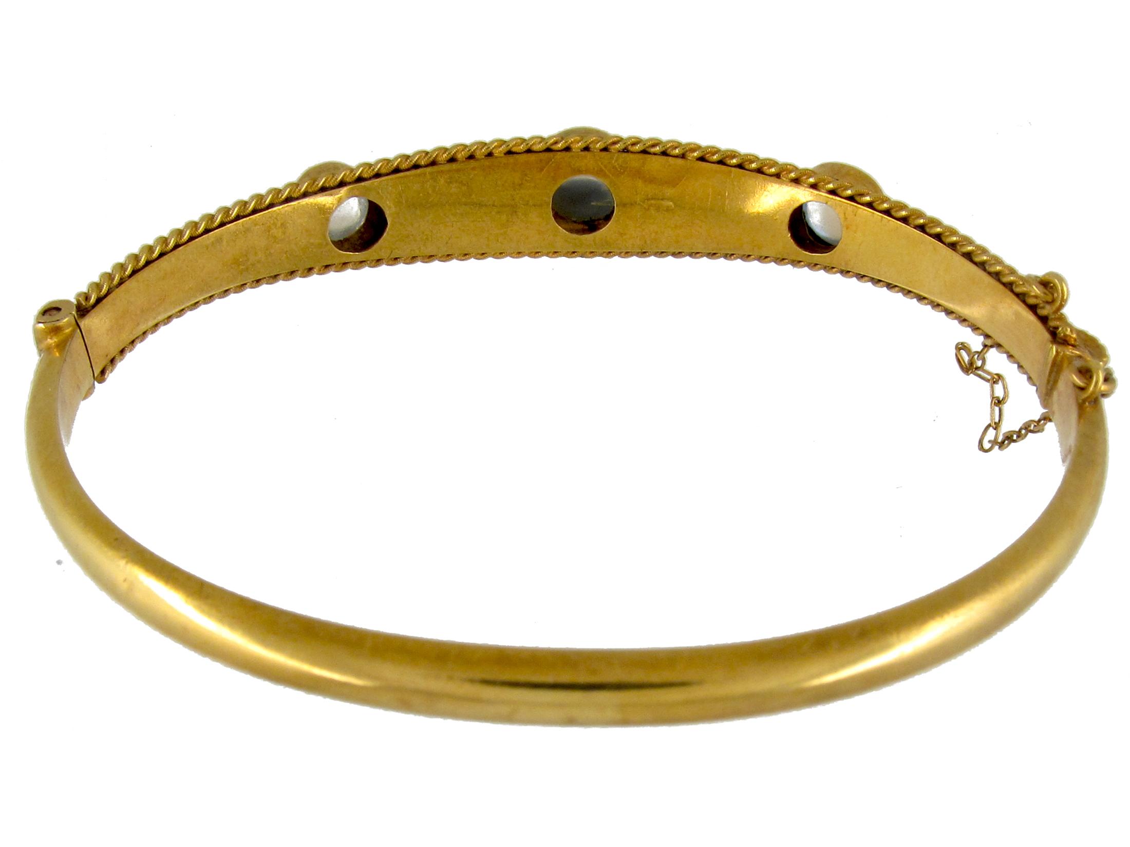 Gold & Moonstone Etruscan Bangle