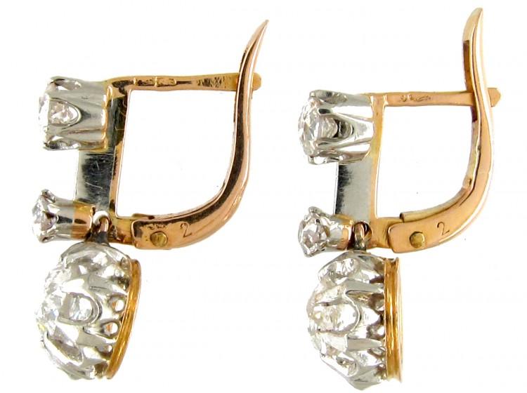 French Three Stone Diamond Drop Earrings