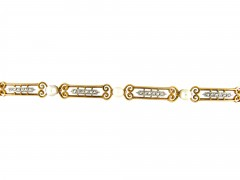 French Natural Pearl & Diamond 18ct Gold Bracelet