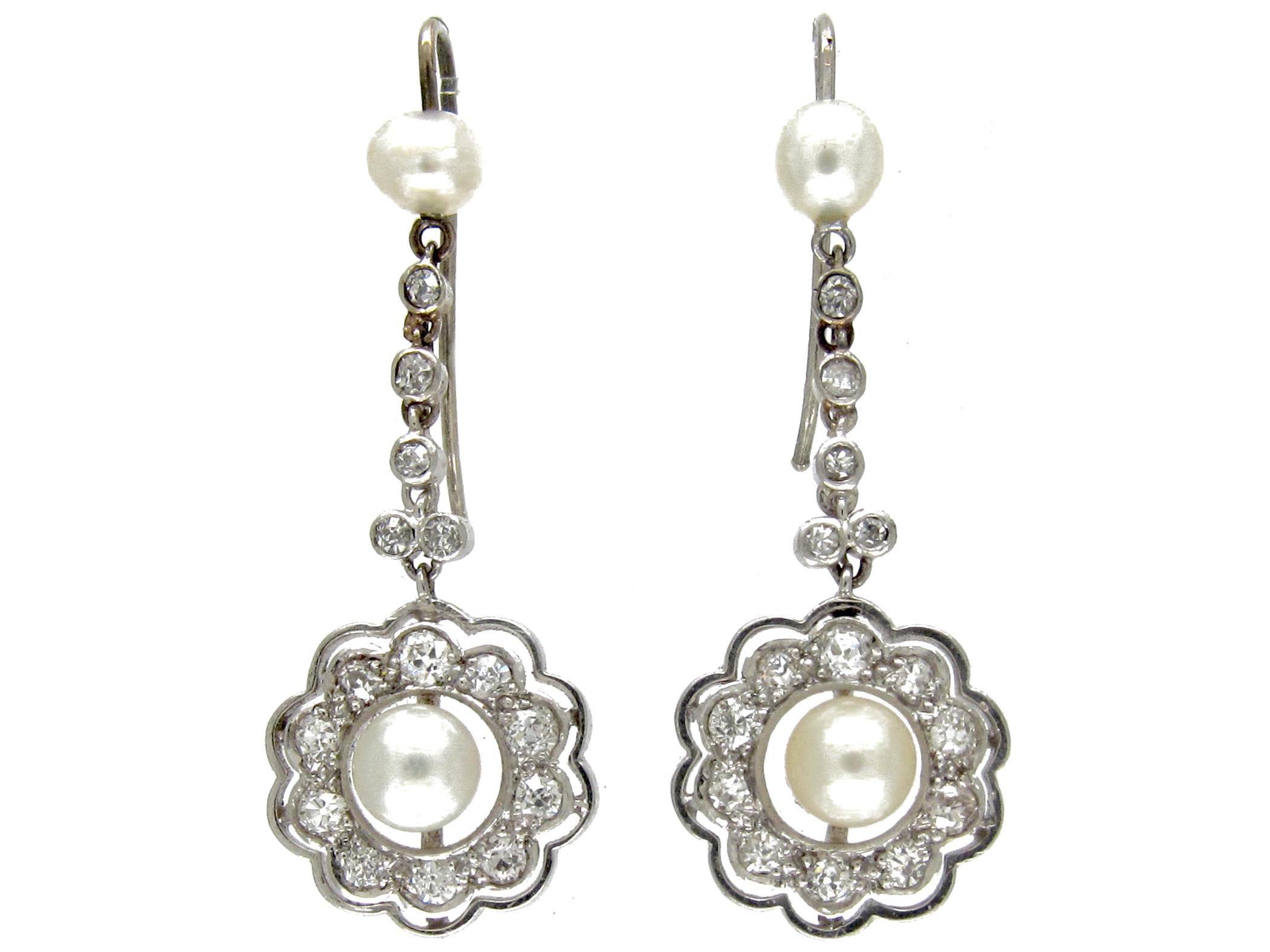 Edwardian Pearl & Diamond Drop Earrings