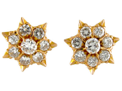 Diamond & Gold Star Earstuds