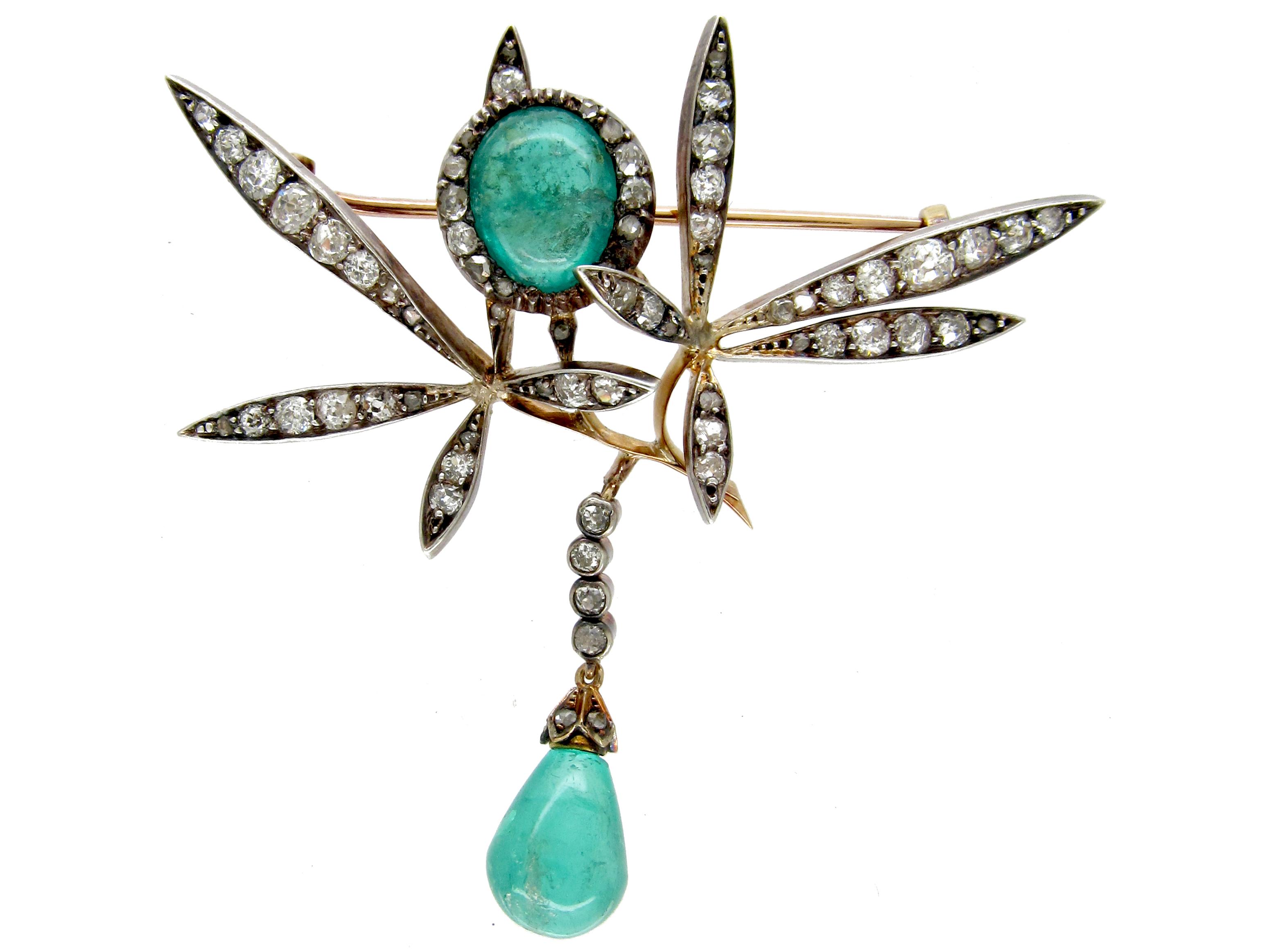 Edwardian Cabochon Emerald & Diamond Floral Brooch