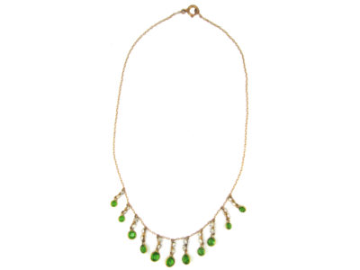 Green & White Paste Gold Necklace