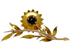 Amethyst & Natural Split Pearl Victorian Flower Brooch