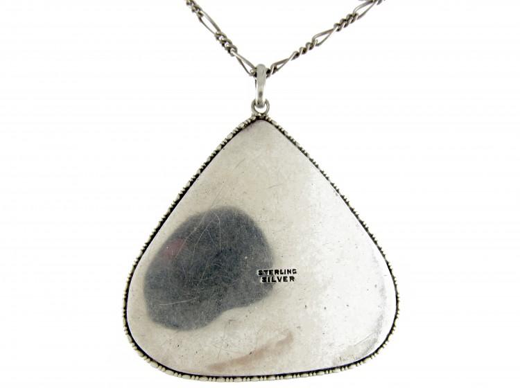 Art Nouveau Silver & Enamel Pendant on Chain