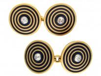 18ct Gold Enamel & Diamond Art Deco Cufflinks