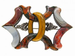 Scottish Silver & Agate Bow Tie Brooch