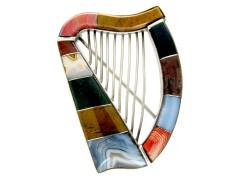 Victorian Silver & Agate Scottish Harp Brooch