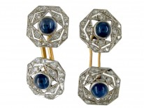 Art Deco Cabochon Sapphire & Diamond Cufflinks