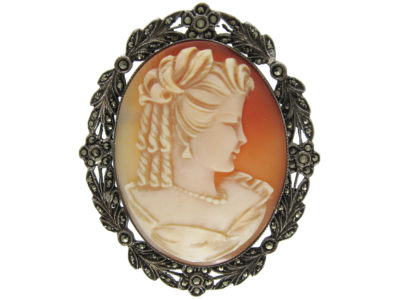 Silver & Marcasite Shell Cameo Brooch