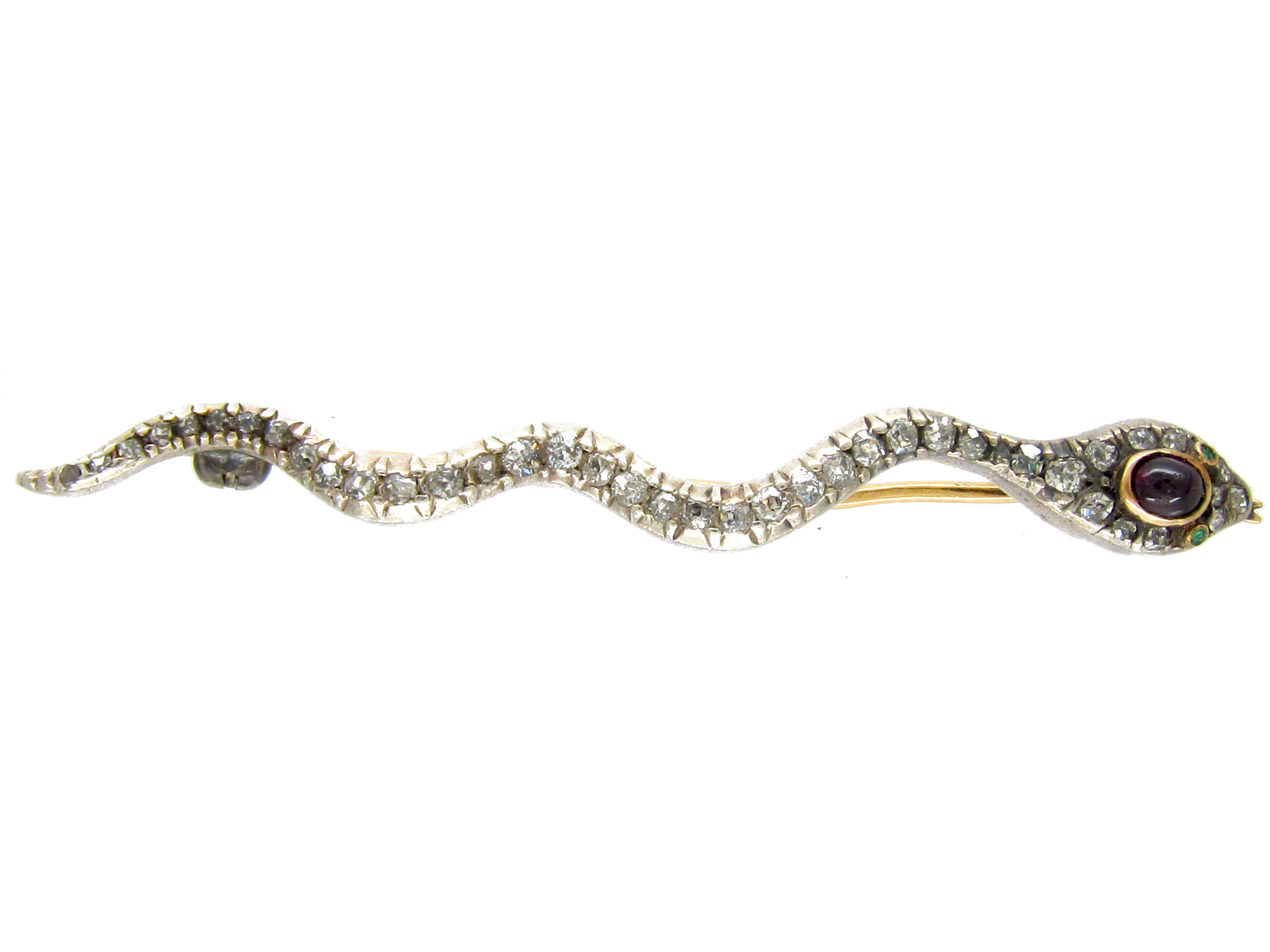 Georgian Diamond & Ruby Snake Brooch