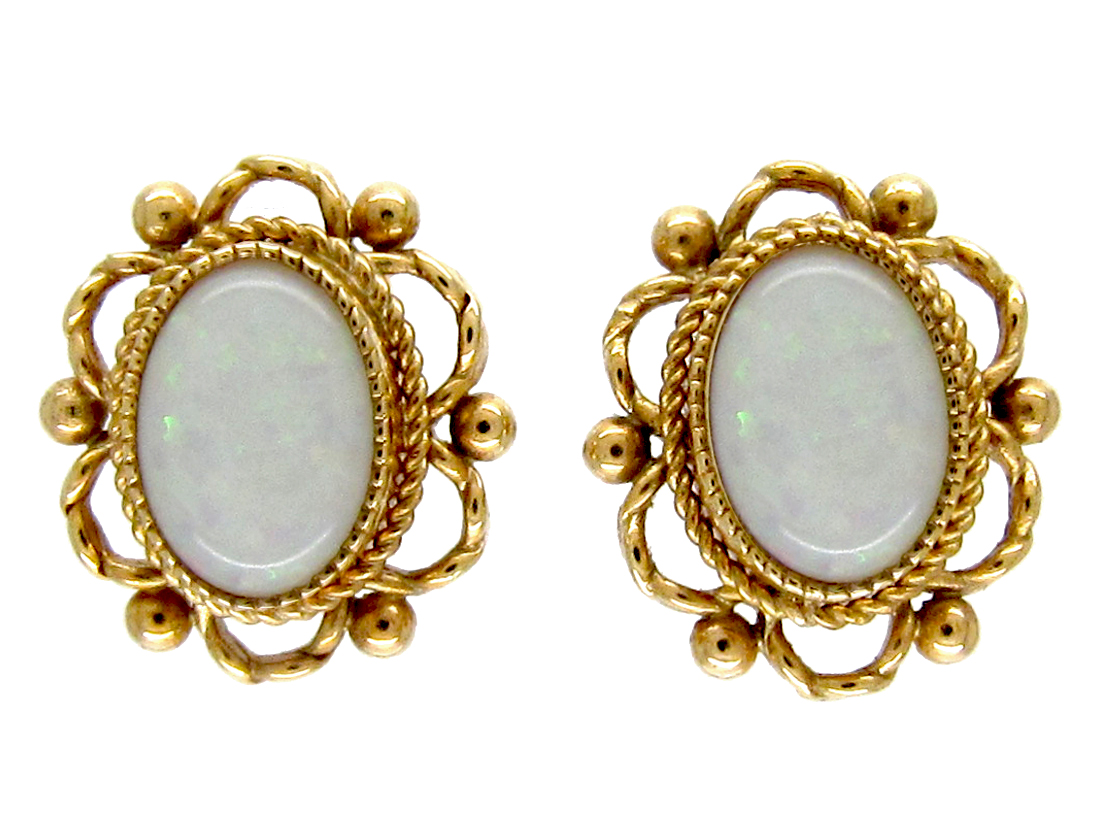 9ct Gold & Opal Earrings