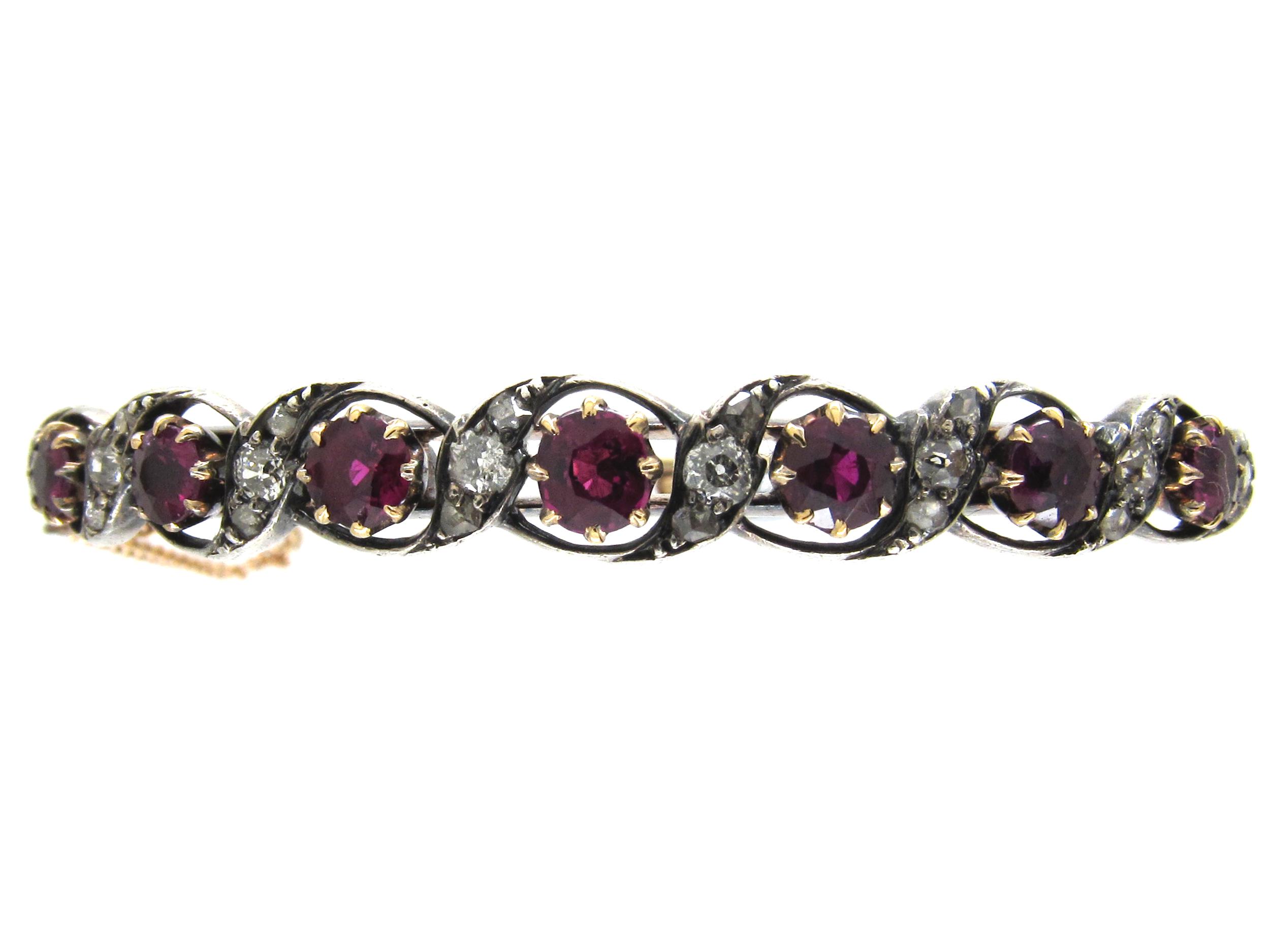 Ruby & Diamond Victorian Bangle