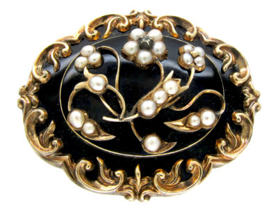 Victorian Black Enamel 15ct Gold Mourning Brooch With Natural Split Pearls & Small Diamond