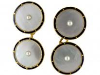 18ct Gold Mother of Pearl & Blue Enamel Cufflinks