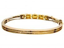 Victorian 15ct Gold & Natural Split Pearl Daisy Cluster Bangle