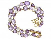 Heart Shape Amethyst & Rock Crystal 18ct Gold Necklace