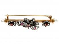 Ruby & Diamond Butterfly Brooch in Original Case