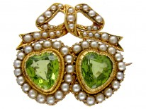 Double Heart Brooch set with Peridots & Natural Split Pearls