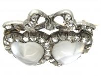 Double Heart Diamond & Moonstone Edwardian Brooch
