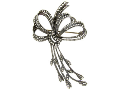 Large Marcasite & Silver Bow Brooch