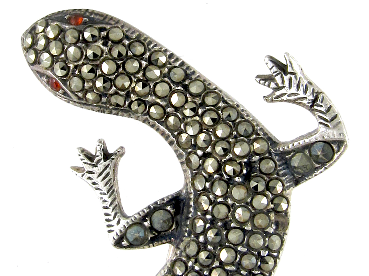 Large Silver & Marcasite Lizard Brooch
