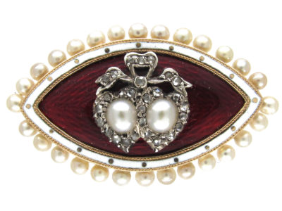 Edwardian Double Heart Enamel & Diamond Brooch